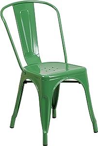 Flash Furniture Commercial Grade Green Metal Indoor-Outdoor Stackable Chair