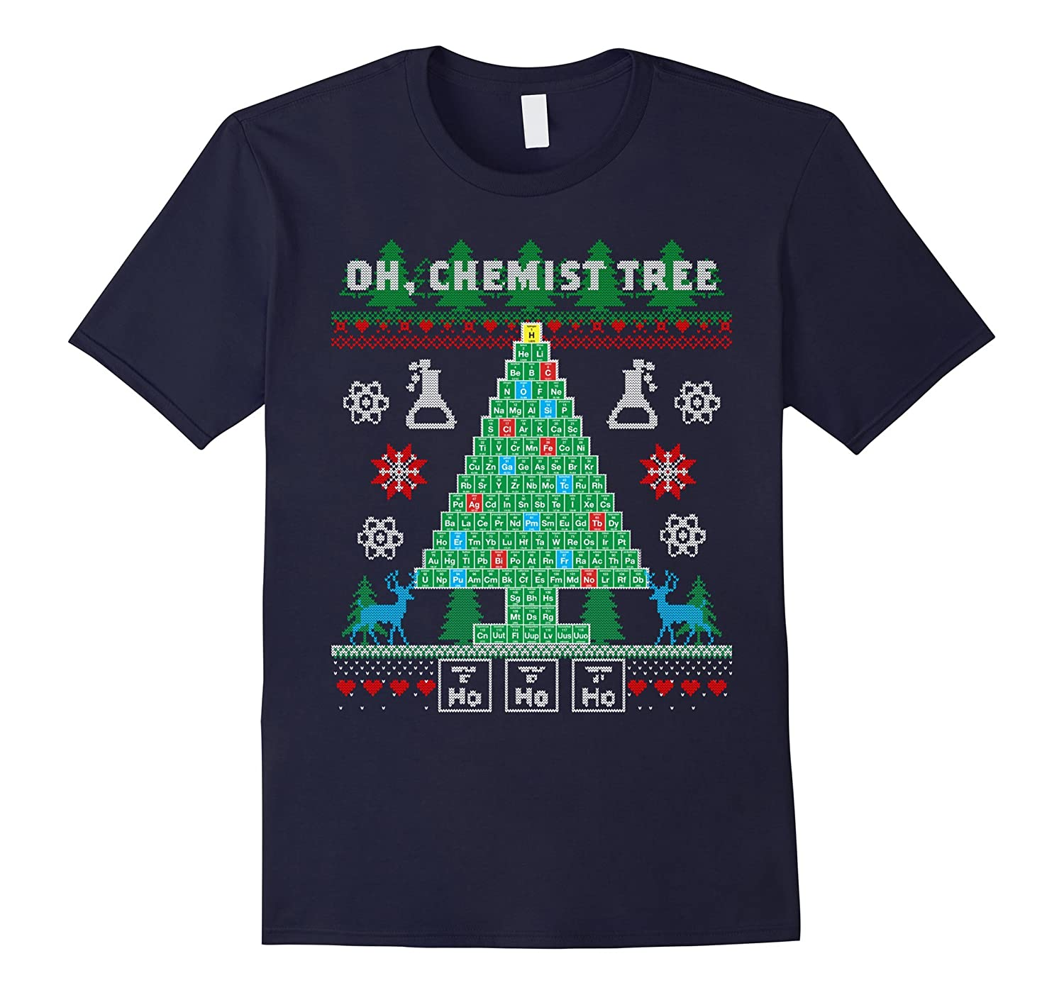 Oh Chemist Tree Funny Holiday Ugly Christmas Sweater T-Shirt-ANZ