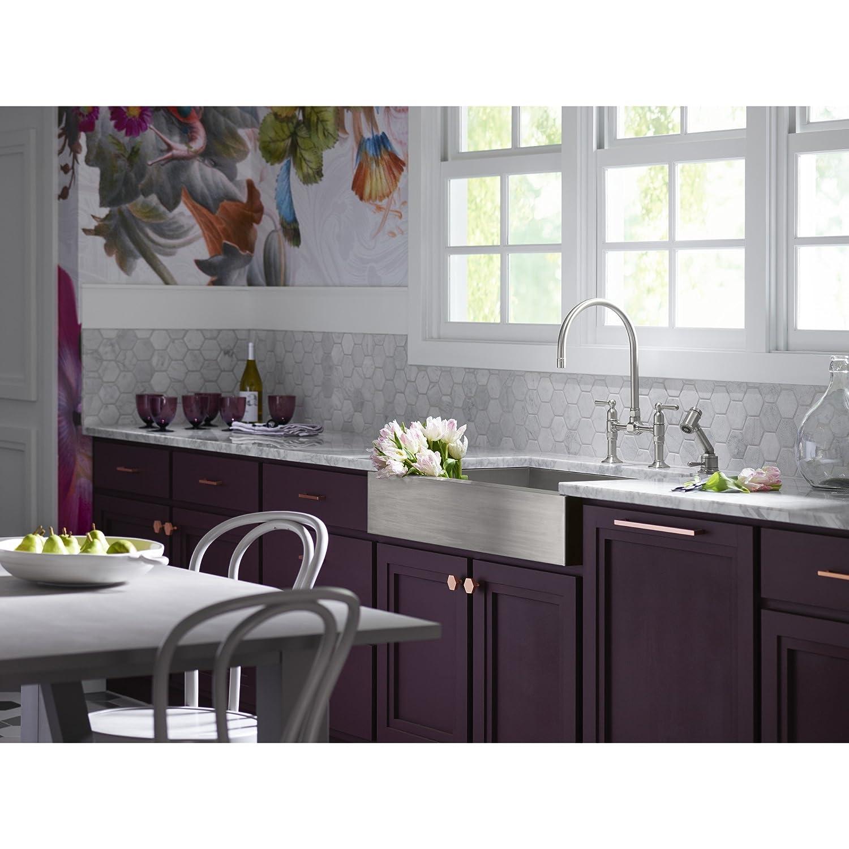 KOHLER K-7337-4-BS HiRise Stainless Deck Mount Bridge Kitchen Faucet ...