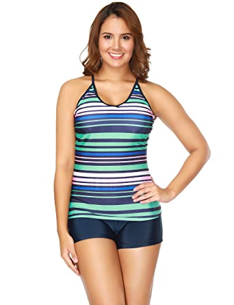 fe2026f5aa BaronHong colorful Stripe Printed Tankini Swimsuit Plus Size Women Bathing  Suit(Stripe