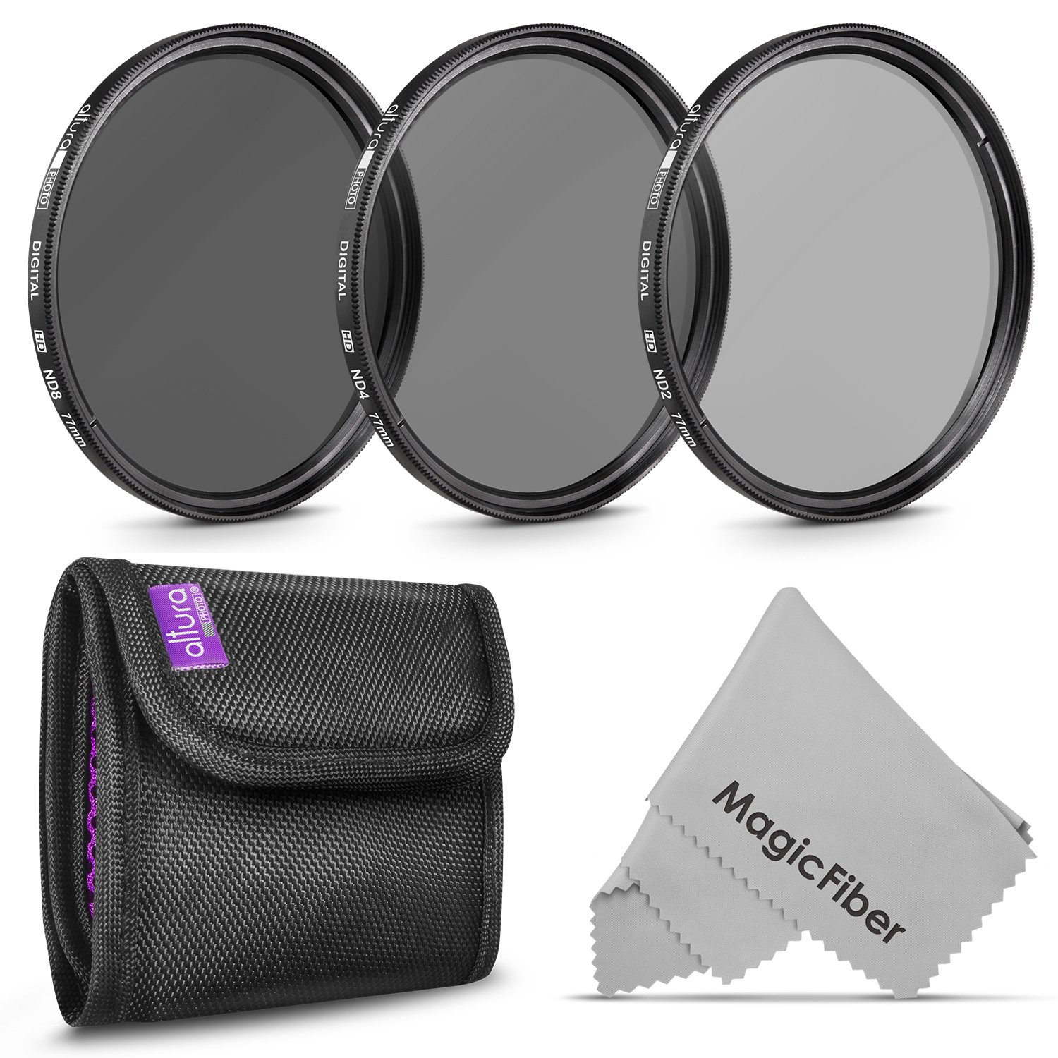 77MM Altura Photo Neutral Density Professional Photography Filter Set (ND2 ND4 ND8) + Premium MagicFiber Microfiber Cleaning Cloth by Altura Photo