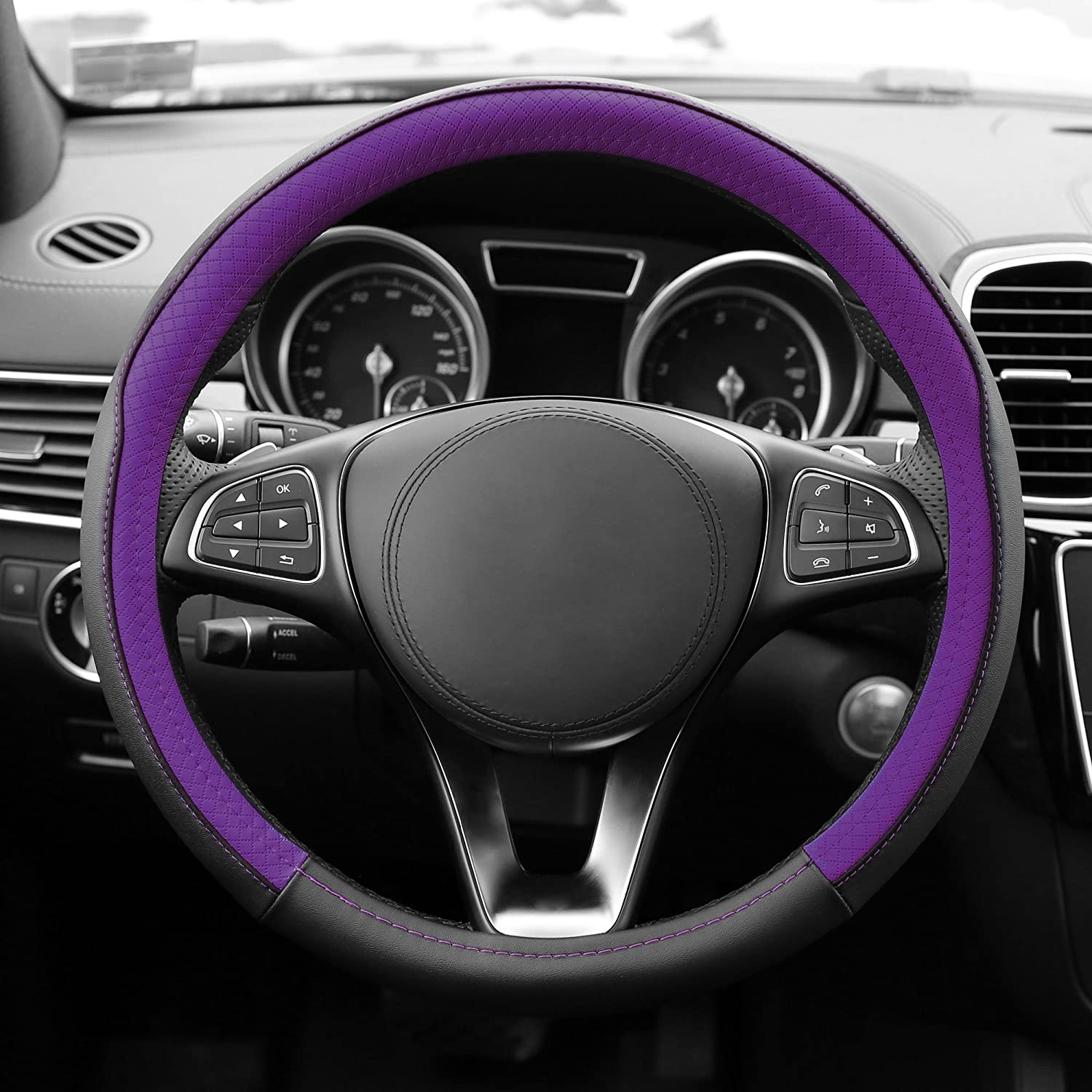 FH Group FH2009PURPLE Geometric Chic Genuine Leather Steering Wheel Cover 1 Pack