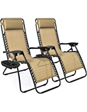 Best Choice Products Set of 2 Adjustable Zero Gravity Lounge Chair Recliners for Patio, Pool w/ Cup Holders - (Color)