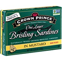 Crown Prince One Layer Brisling Sardines in Mustard, 3.75-Ounce Cans (Pack of 12)