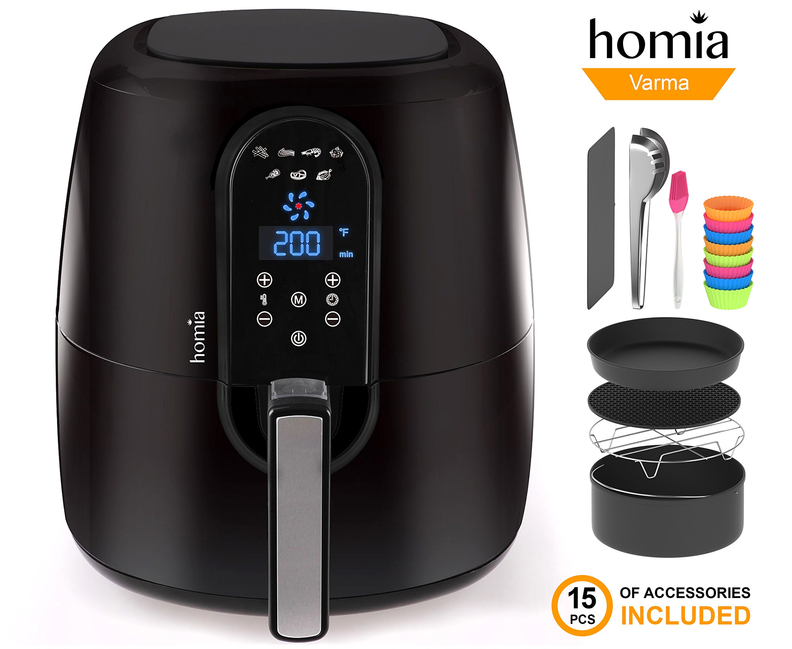 Automatic Electric Hot Air Fryer for Oilless Low-Fat Healthy Cooking - Large 5.2 L (5.5 Qt) Capacity - 1800W with Touch Panel - Free Accessory Set and Online Recipe Book - Fry - Roast - Bake - Grill