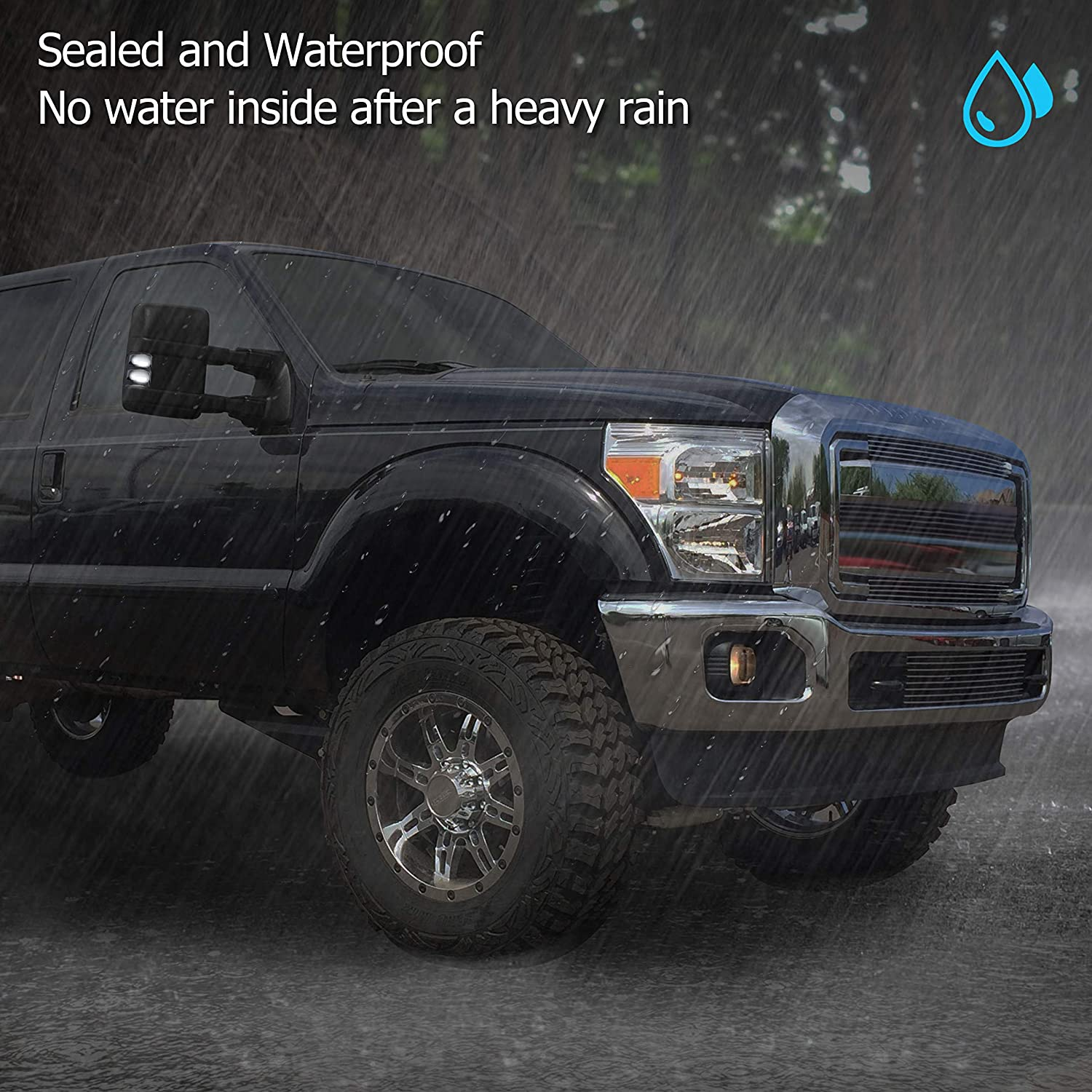 RUXIFEY Switchback Mirror Lights Smoked Lens LED Signal Light Compatible with 2008 to 2016 Ford F250 F350 F450 Super Duty