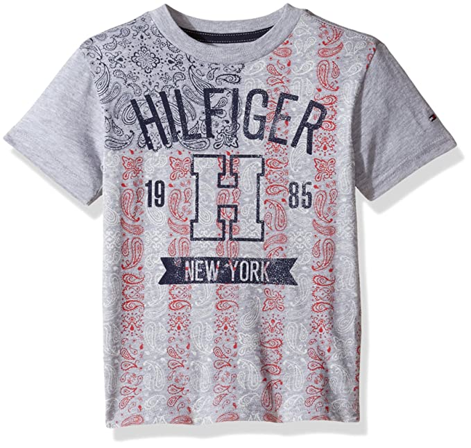 fe6c82d9 Tommy Hilfiger Boys' Little Short Sleeve Crew Neck Flag Graphic T-Shirt,  Grey