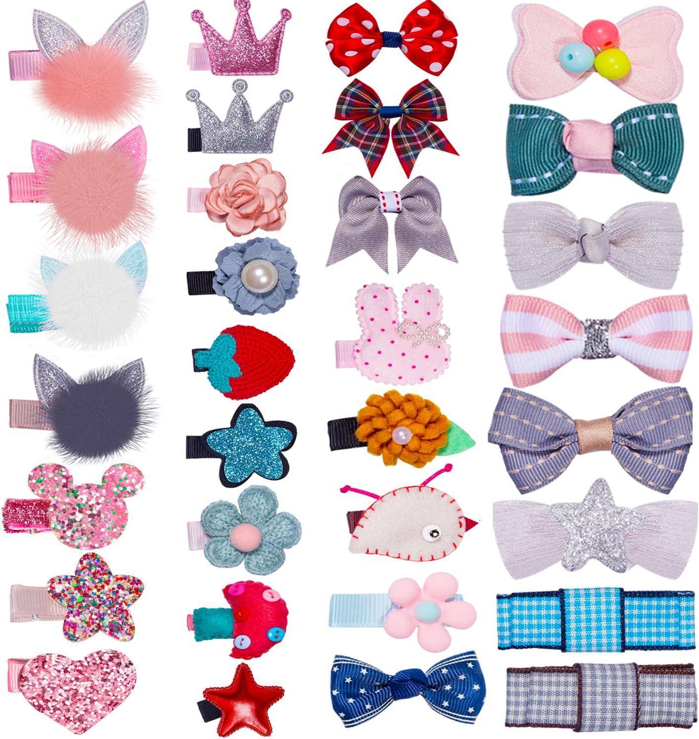 HBF 32 Piezas Pinzas Bebe Niña Multicolor Clips Pelo Niña Con Tela Accesorios Para El Pelo Niñas