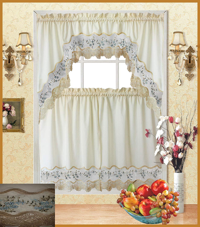 kitchen curtains sets amazon com rh amazon com Discount Kitchen Curtains Sets Embroidered Kitchen Curtain Sets Outlet