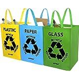 AMOS 3er Set Wiederverwendbare 53L Taschen mit Transportgriffen für Recycling Mülltrennsystem Abfalltrenner für Sortieren von Glas Plastik Papier