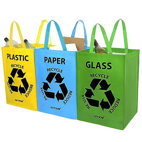 AMOS Set de 3 Bolsas Reutilizables 53L con Manijas para Reciclaje de Plástico Vidrio Papel Almacenamiento Segregación de Residuos Basura