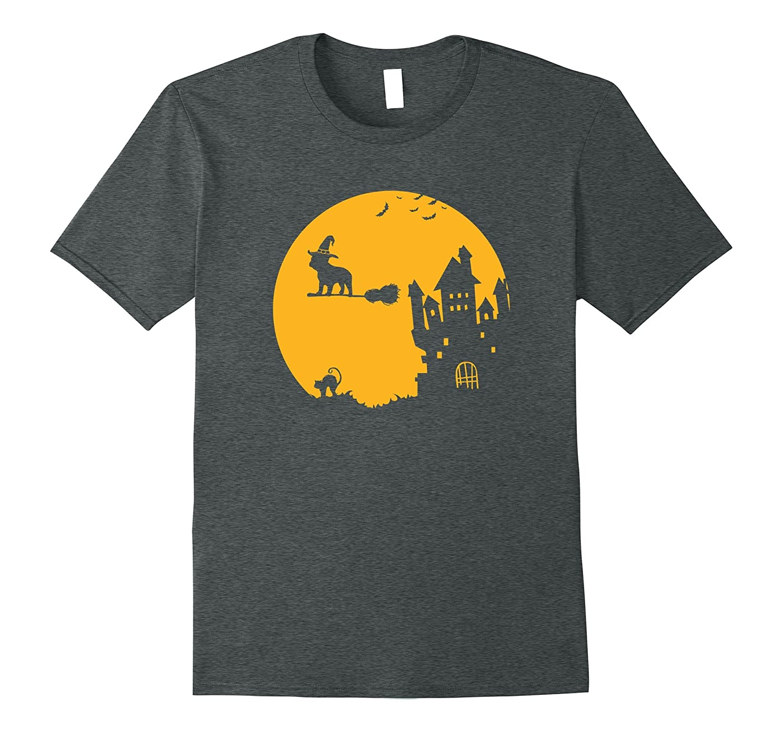 French Bulldog Witch Halloween T Shirt Haunted Dog House-FL