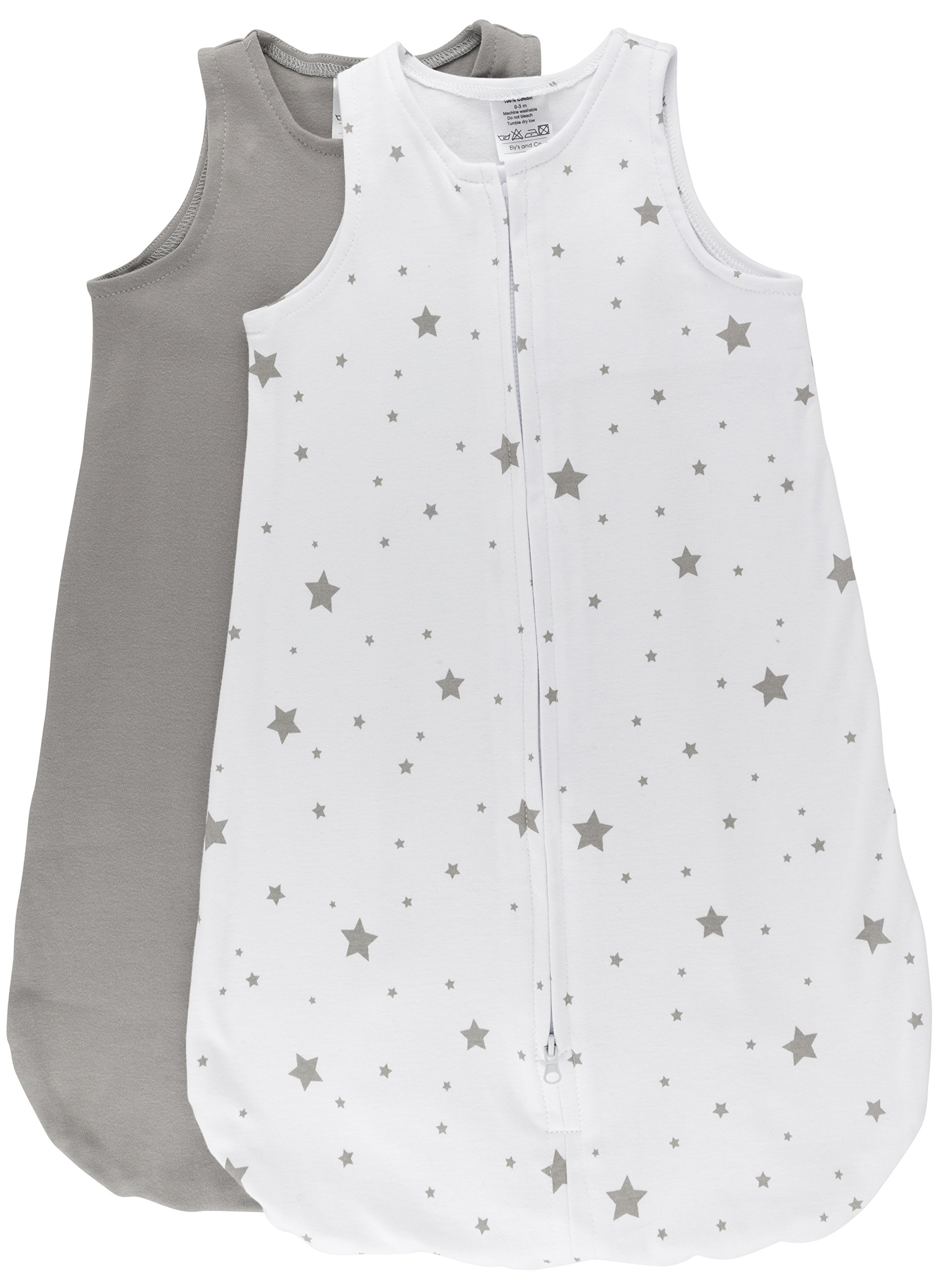 100% Cotton Wearable Blanket Baby Sleep Bag Grey Stars 2 Pack (6-12 Months)