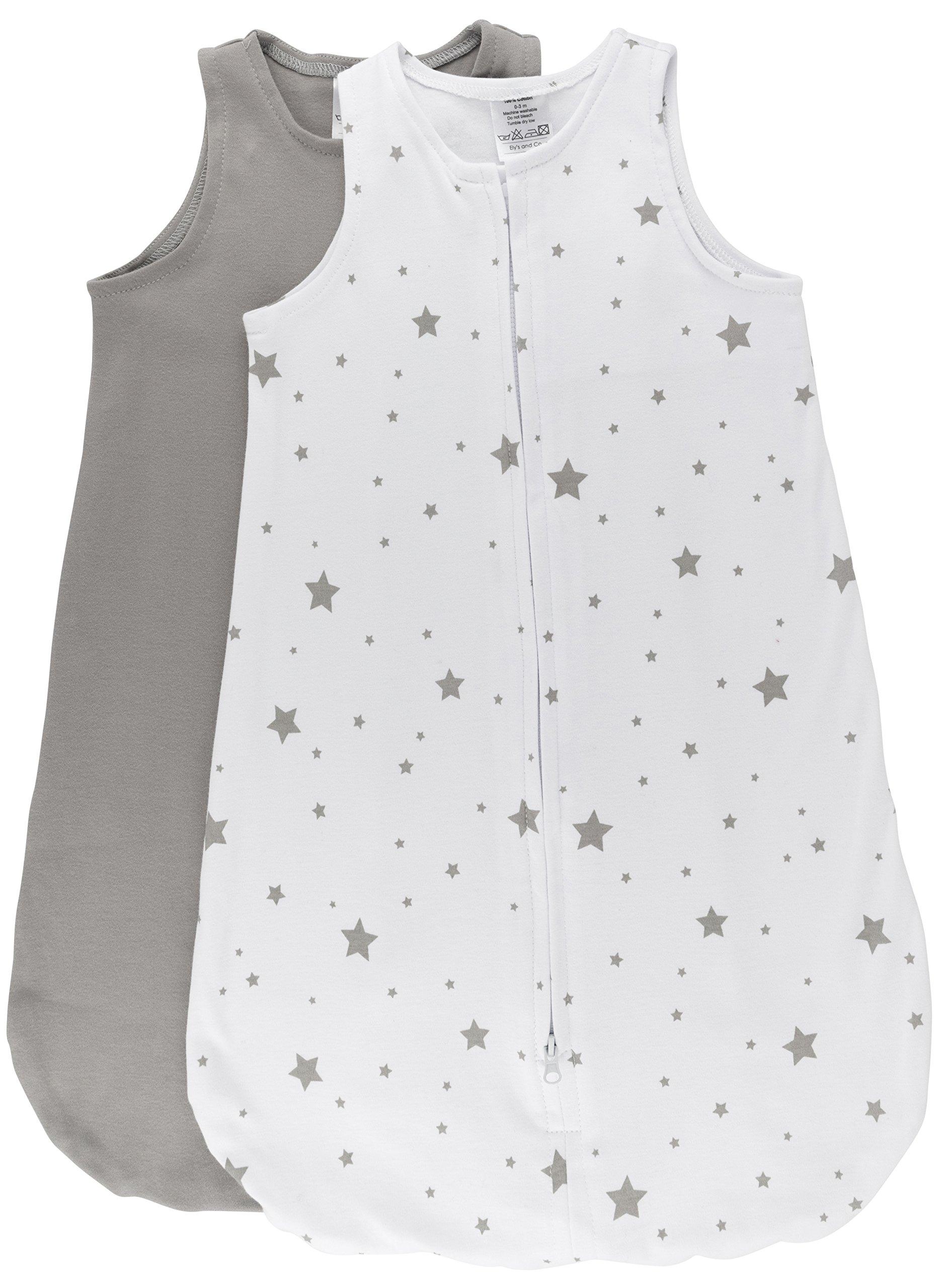 100% Cotton Wearable Blanket Baby Sleep Bag Grey Stars 2 Pack (0-3 Months)