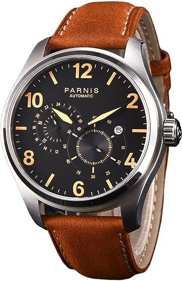 PARNIS 2151 clásica – Reloj de hombre automático con cristal de zafiro y a los arañazos 44