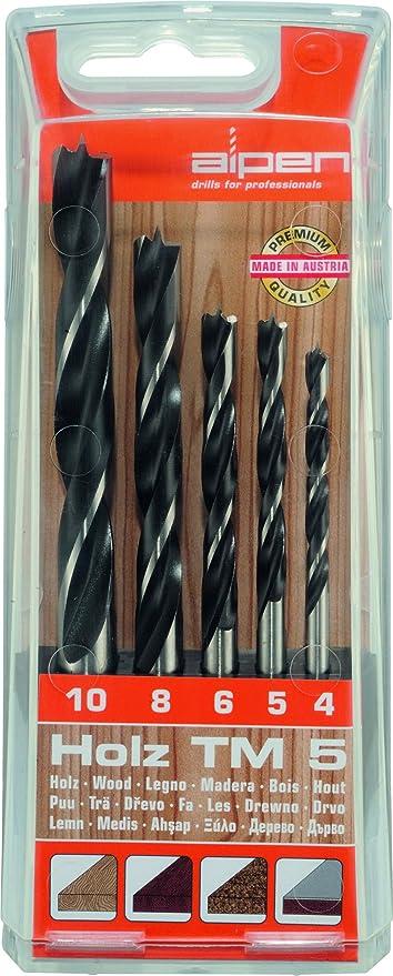 ALPEN 9084015 Estuche Brocas Madera 5 Piezas, negro, ø 4-10 mm: Amazon.es: Bricolaje y herramientas
