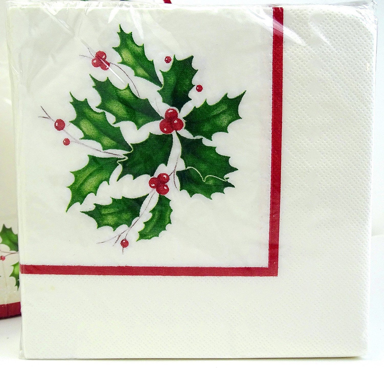 Lenox Holly Paper Beverage Cocktail Napkins, 40 Ct, Christmas Holiday CR Gibson