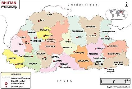 Amazon.: Bhutan Political Map   Laminated (36
