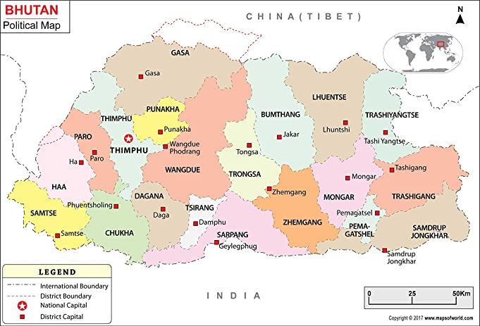 Amazoncom Political Map of Bhutan 36 W x 2440 H Office
