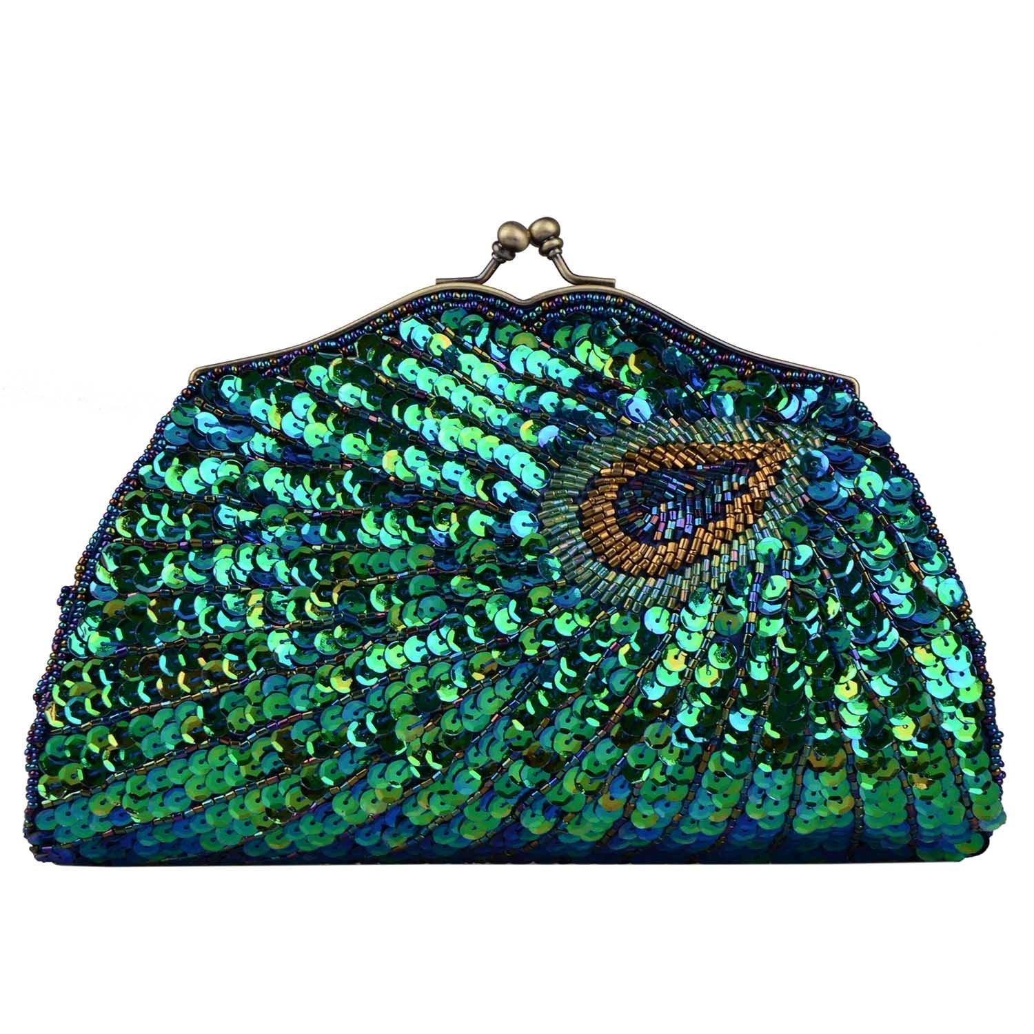 Women's Vintage Beaded Sequin Evening Bags and Clutches Peacock Purses Handbags