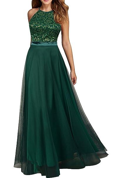 80703a4a25ccd Viwenni Women's Vintage Lace Evening Party Wedding Long Dress