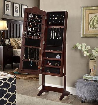 Amazon.com: Espresso Finish Arch Jewelry Cabinet Freestanding Floor ...