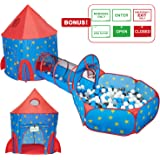 HAN-MM 3pc Kids Play Tent, Tunnel & Ball Pit Basketball Rocket Ship Astronaut Hoop Toys with Bonus Message Signs for Indoor Outdoor Camping Children Activity Center