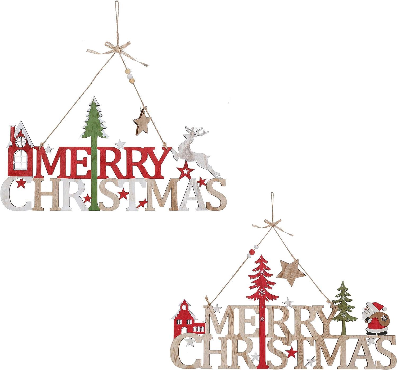 Wooden Merry Christmas Signs (Twinpack: 16.5 Inch Santa + 16.5 Reindeer)