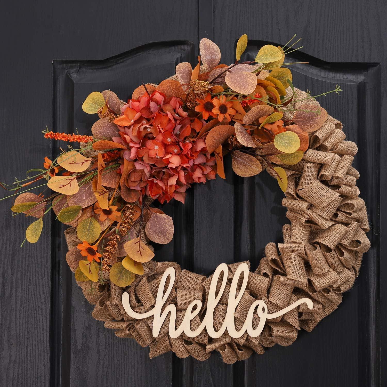 Year Round Wreath Fall Wreaths for Front Door Shabby Chic Wreath Fall Door Decor Fall Burlap Wreath