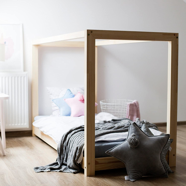 160 x 200 cm Oliveo Hausebett Kinderhaus Bett für Kinder Kinderbett Massivholz Spielbett Holz Haus (160 x 200 cm)