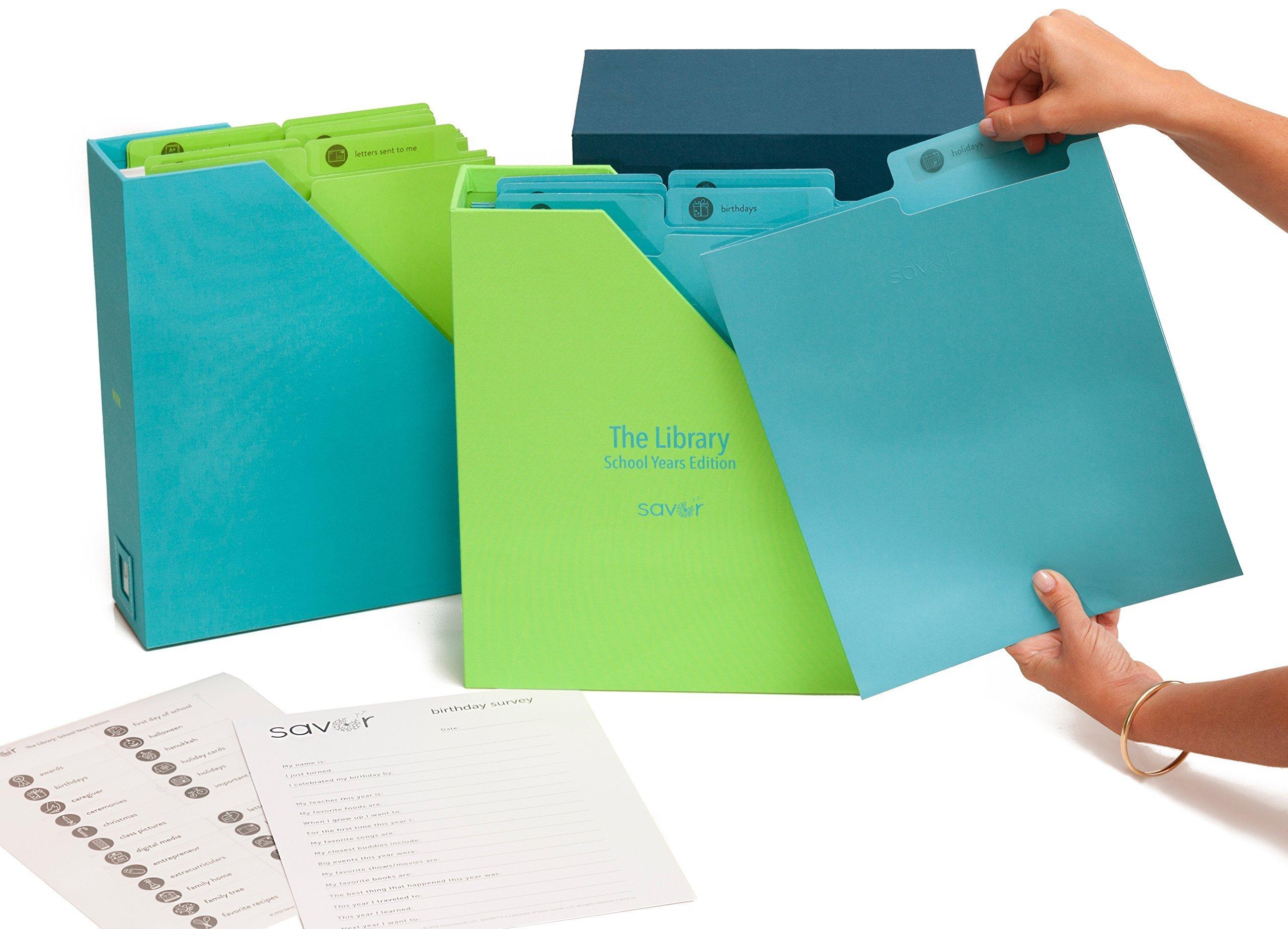 Back-to-School Keepsake Box, Memento Box, Organizer for School Work, Awards, Certificates, Diploma, Kids Art Work, Letters, Programs - Handmade, Custom, Tween Gift, w/Files, Labels, (Ocean)