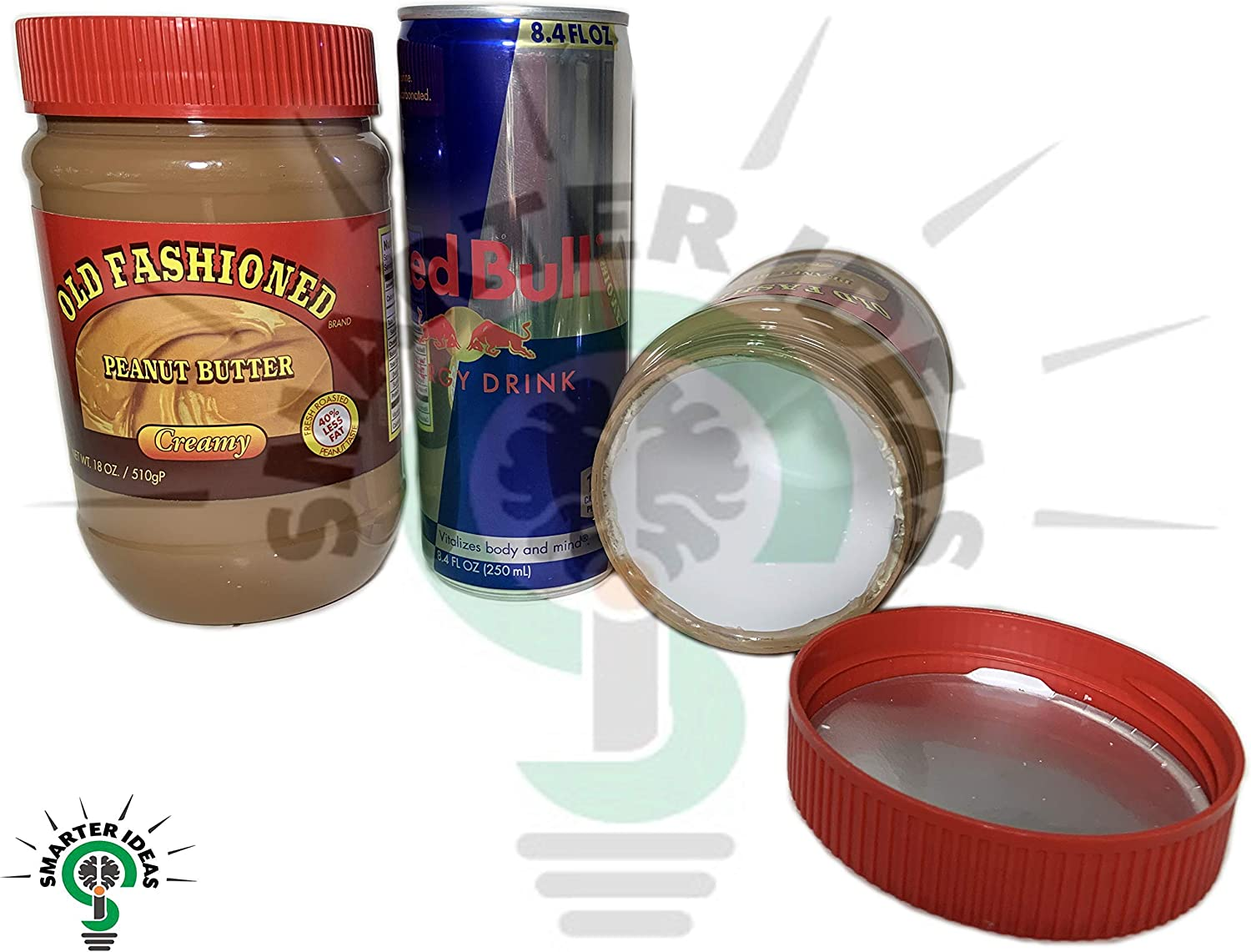 Fake Peanut Butter and Red Bull Safe Diversion Secret Stash Safes with Hidden Storage to Hide Money Jewelry Anything