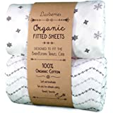 Luvberries Baby Bjorn Travel Crib Sheets (Set of 2) - 100% Organic Cotton Crib Sheets, Baby and Toddler, Fitted Crib Sheets, for Boys & Girls (White and Grey)
