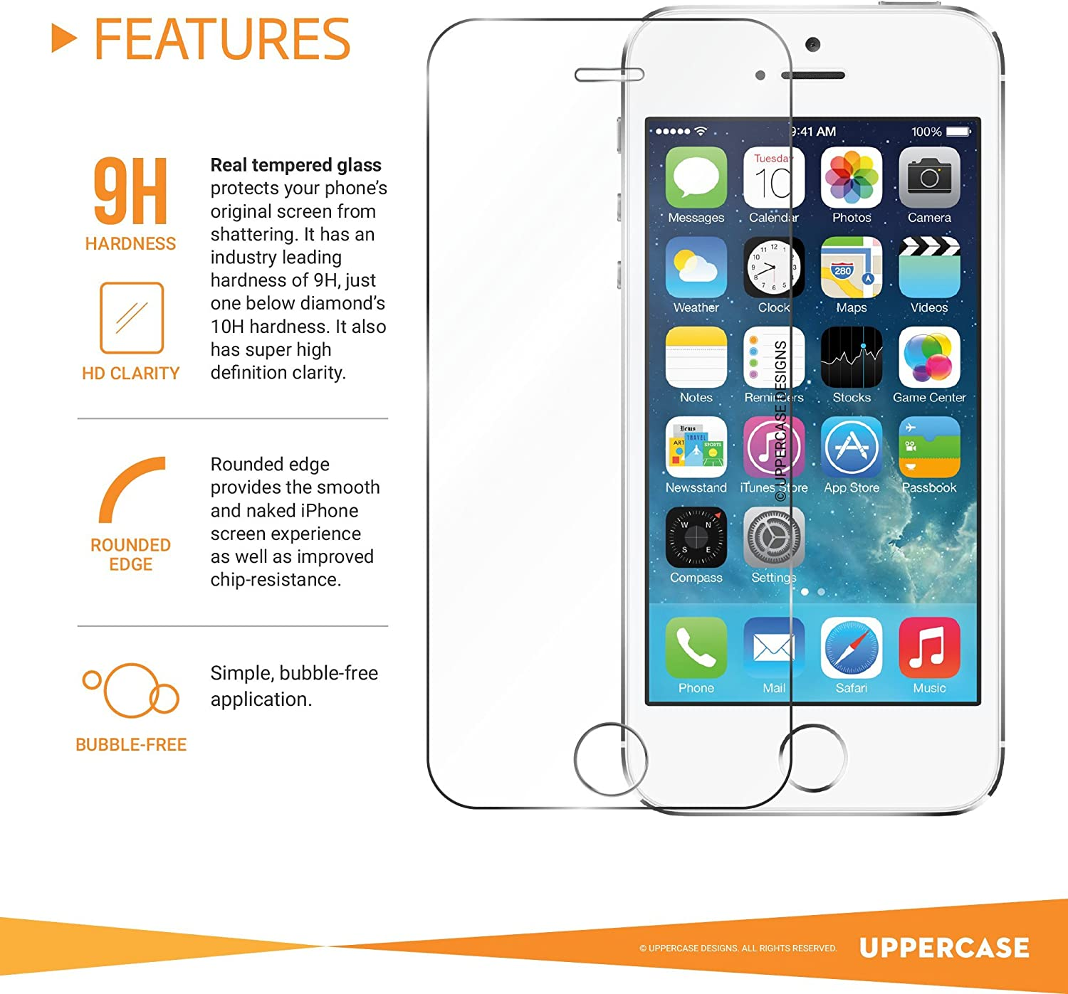 The Grafu Screen Protector Compatible with iPhone 5C 3 Pack Anti Scratch 9H Hardness High Clarity Tempered Glass Screen Protector for iPhone 5C