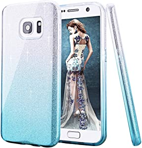 CJW Case,CJW [Secret Garden] TPU Plating Clear Shiny Cover Series for Samsung Galaxy J5 J7 S6 S7 S7 Edge S8 S8 Plus Note 3 4 5 A7 A8 A9 (Silver and Blue, Samsung Note 5)