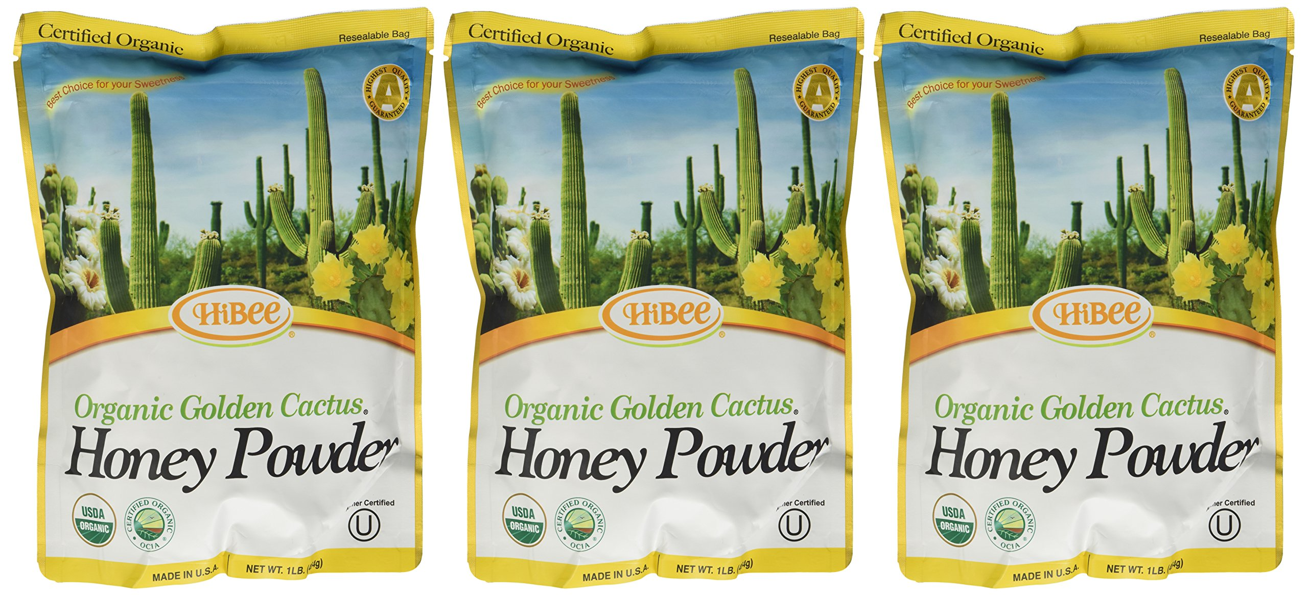 Hibee Golden Cactus Honey Powder Organic, 16 Ounce Units (Pack of 3)