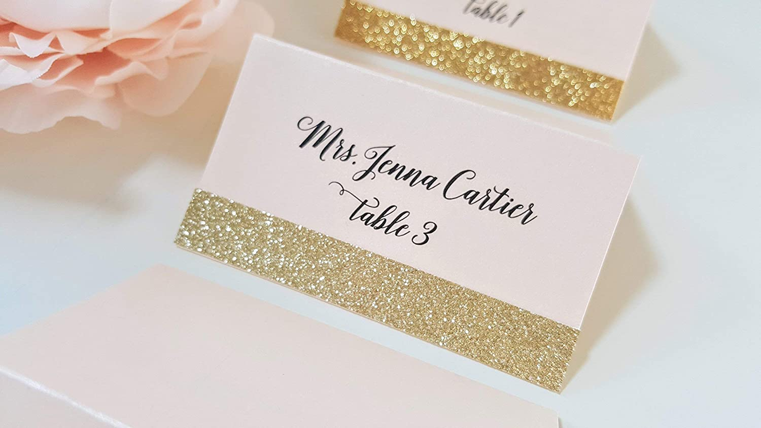 Wedding Name Cards.Amazon Com Gold Glitter Wedding Place Cards Blush And Gold
