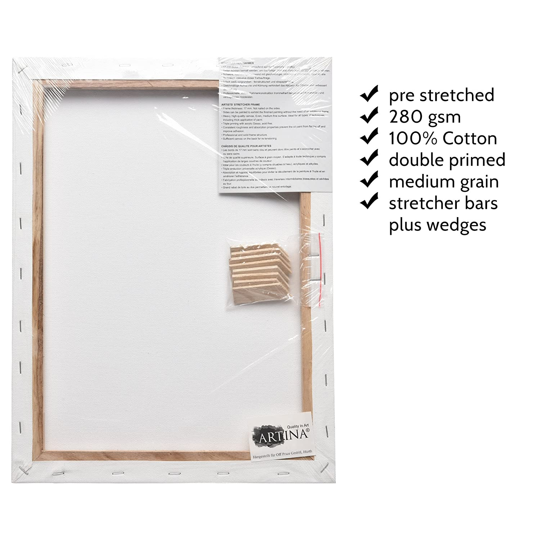 Artina Set de 5 lienzos Blancos de 100/% algod/ón con bastidores robustos 80x100 cm 280g//m/² Calidad Akademie