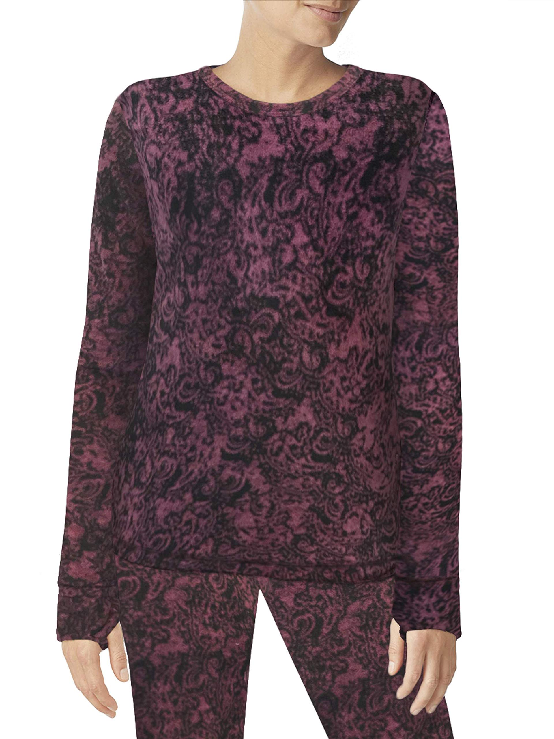 Cuddl Duds ClimateRight Women's Stretch Fleece Warm Underwear Long Sleeve Top (L - Abstract Scroll) by Cuddl Duds
