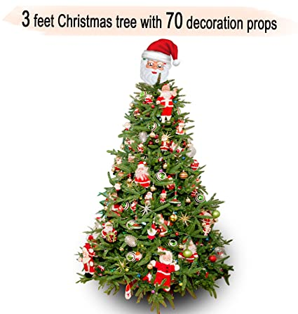 tied ribbons xmaschristmas tree 3 feet with 70 tree hanging ornaments christmas tree