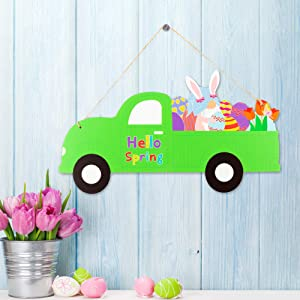 Easter Wooden Wall Decoration Truck Hanging Decoration Vintage Truck Door Sign with Ribbon Happy Easter Hanging Decor Hello Spring Porch Sign for Home Easter Decoration