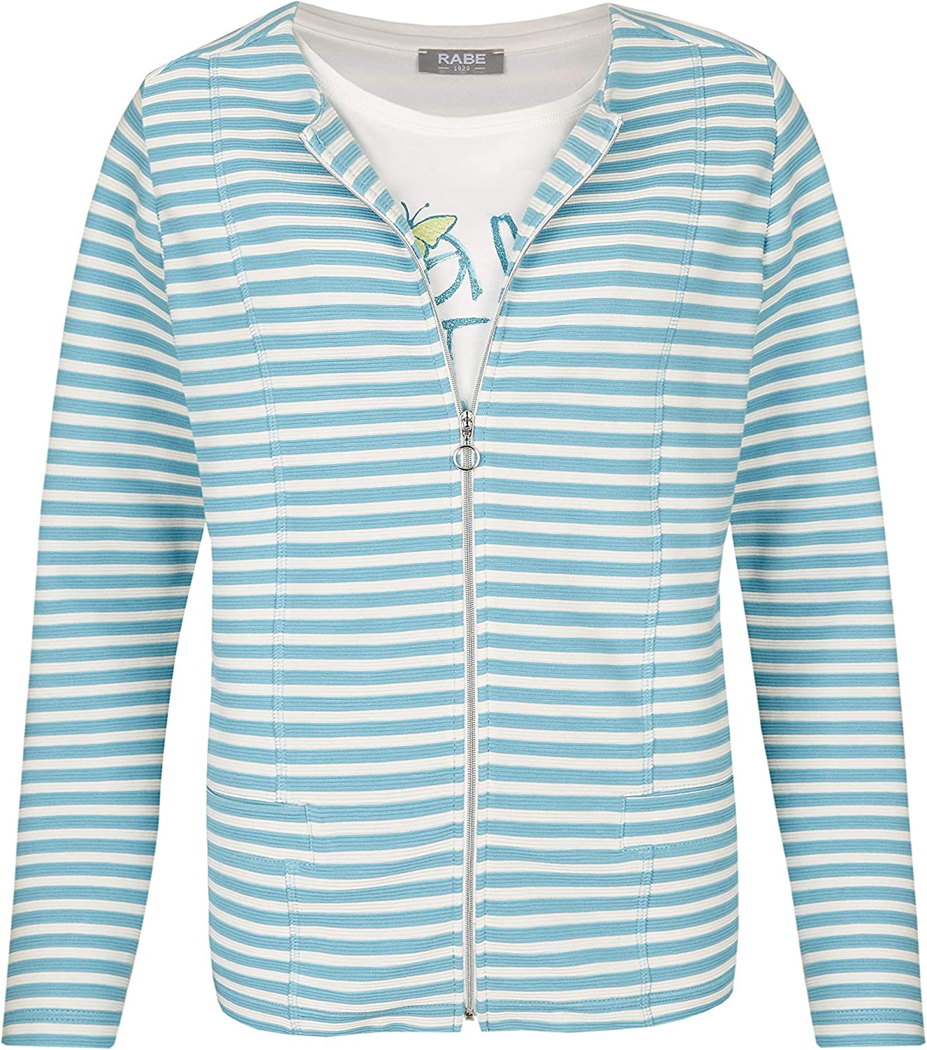 Rabe Womens Striped Front Print Twin Set