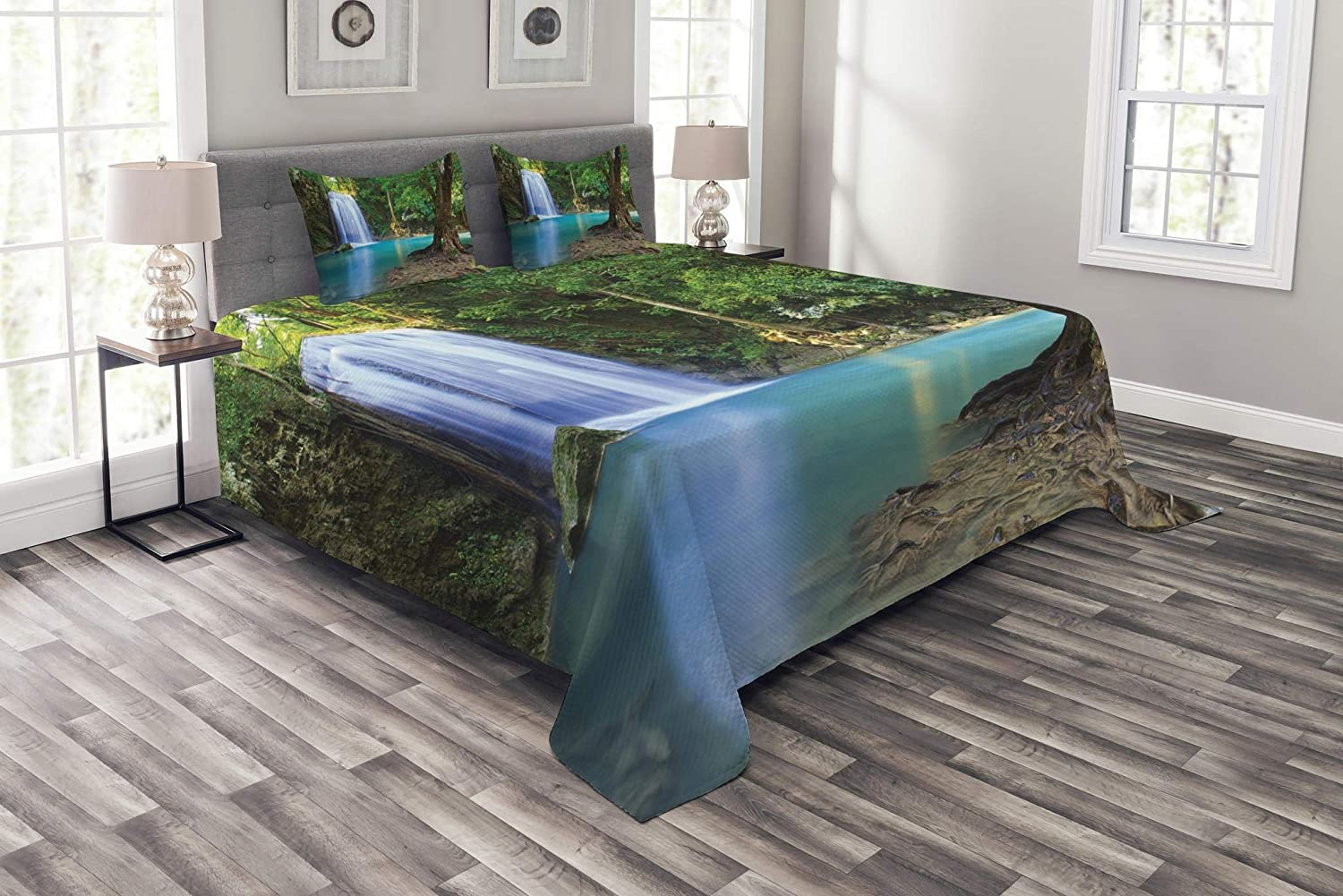 Ambesonne Woodland Bedspread, Waterfall Asia Thailand Jungle Tropic Plants Trees Tourist Attraction, Decorative Quilted 3 Piece Coverlet Set with 2 Pillow Shams, Queen Size, Turquoise Green