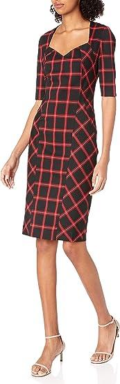 Trina Turk Damska V Neck Plaid Midi Dress Kleidung, Business/Leger: Odzież