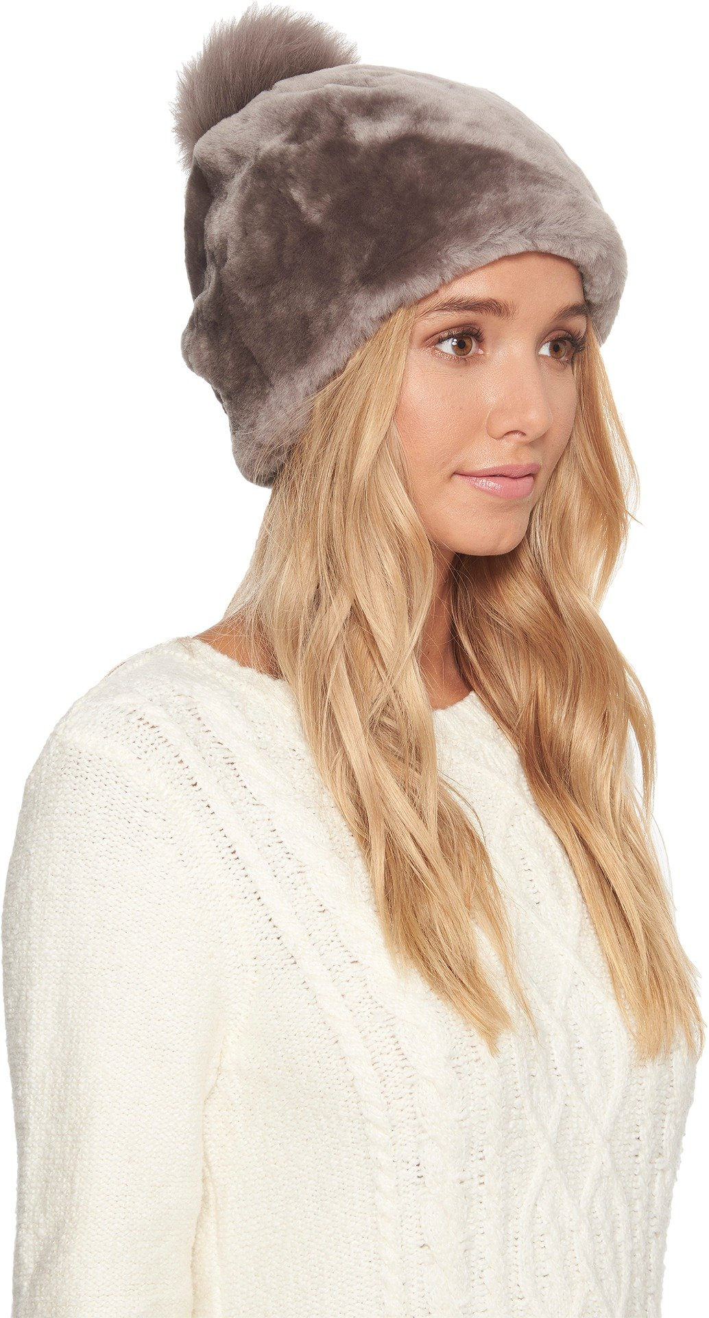 UGG Women's Exposed Sheepskin Beanie Stormy Grey SM/MD by UGG