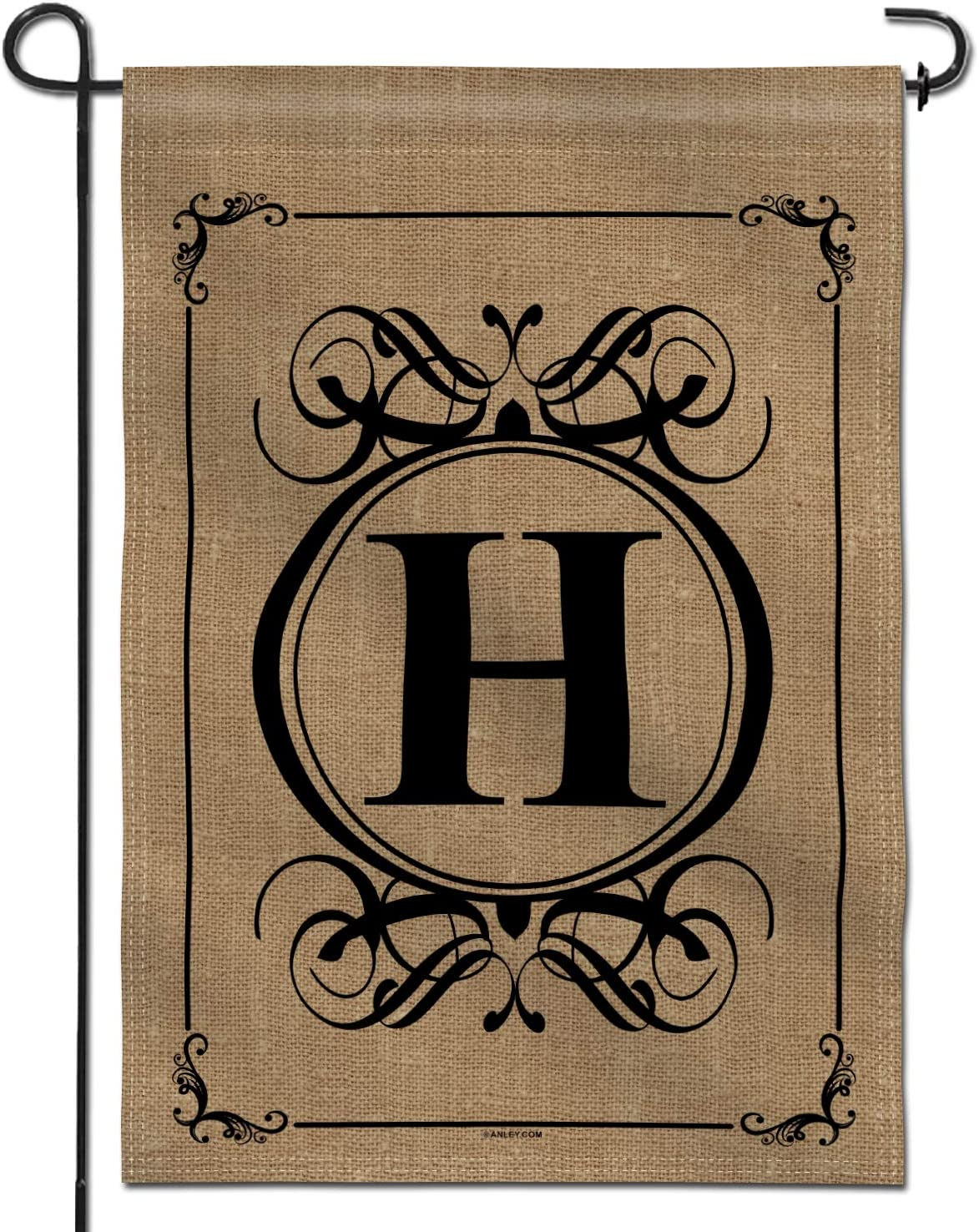 Anley Classic Monogram Letter H Garden Flag, Double Sided Family Last Name Initial Yard Flags - Personalized Welcome Home Decor - Weather Resistant & Double Stitched - 18 x 12.5 Inch