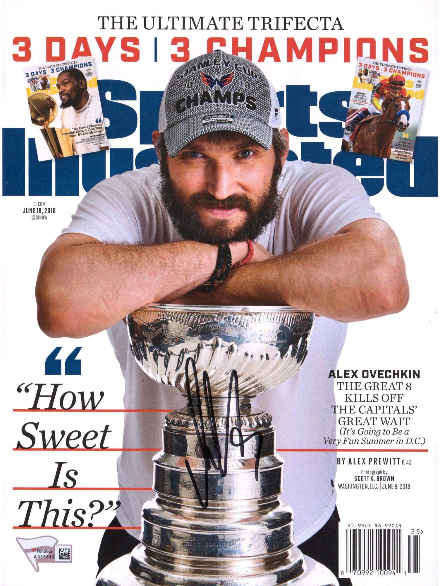 Alex Ovechkin Washington Capitals 2018 Stanley Cup Champions Autographed June 10, 2018 Sports Illustrated Magazine Fanatics Authentic Certified