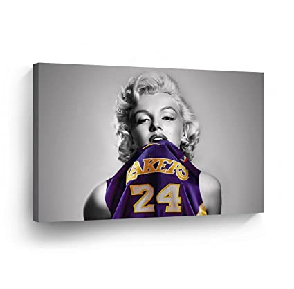 new styles 624b7 5a4cd Marilyn Monroe with Lakers Shirt Canvas Print Decorative Art Modern Wall  Décor Artwork Wrapped Wood Stretcher Bars - Ready to Hang -%100 Handmade in  ...