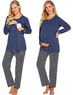 3c2da2b513d7f Ekouaer Nursing PJ Nightgown Hospital Delivery/Labor/Maternity/Pregnancy Long  Sleeve Soft Breastfeeding