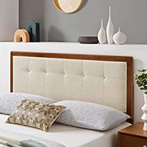 Draper Tufted Full Fabric and Wood Headboard in Walnut Beige